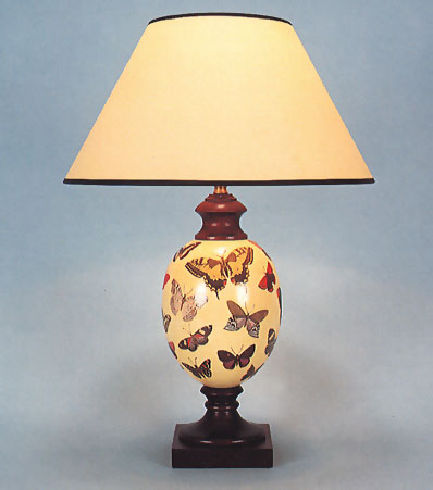 Woolpit Interiors , Decoupage Felbrigg lamp, Butterfly on
