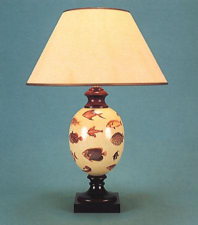 Woolpit Interiors , Decoupage Felbrigg lamp, Fish on pale