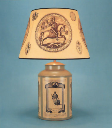 Decoupage tea canister lamp base , Woolpit Interiors , The